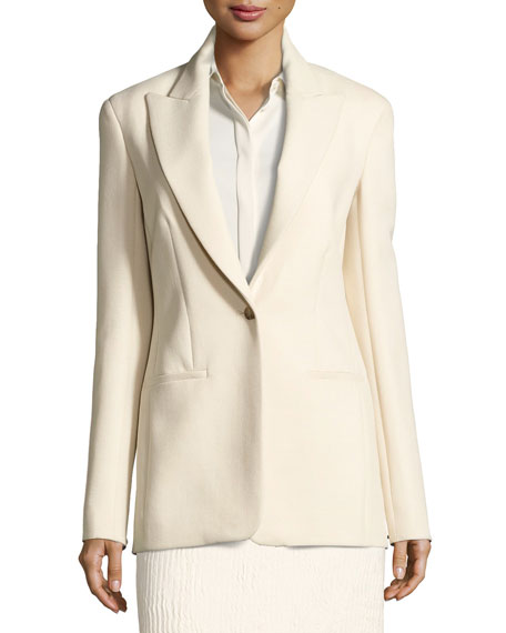 Ibner Stretch Wool One-Button Jacket, Light Beige