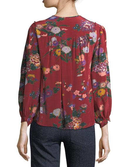 Ivia Floral-Print Silk Blouse