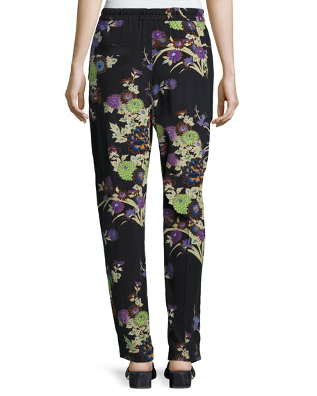 Isley Floral Bouquet Printed Pajama Pants, Black