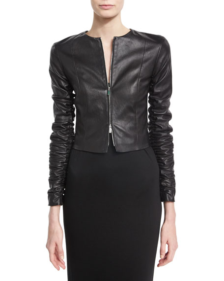 Razna Leather Ruched-Sleeve Jacket, Black
