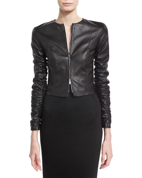 Razna Leather Ruched-Sleeve Jacket, Black