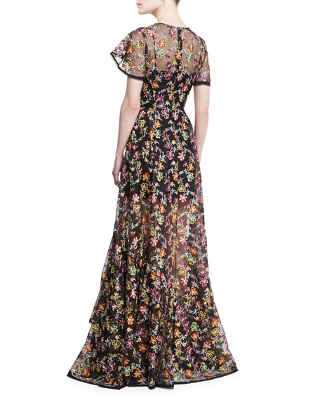 Floral-Embroidered Organza Gown, Black Pattern