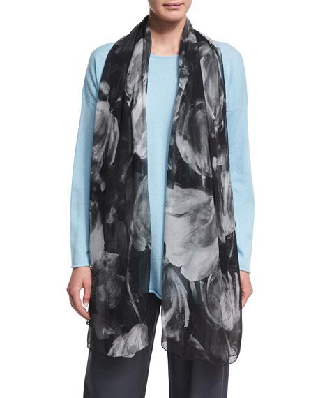 Eskandar Printed Silk Georgette Scarf, Black