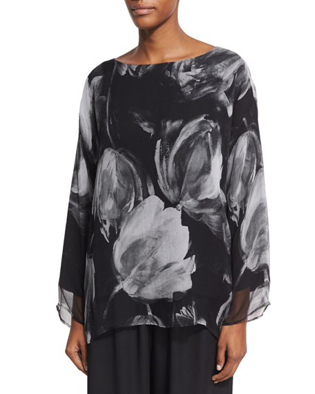Double-Layer Printed Chiffon Top, Black