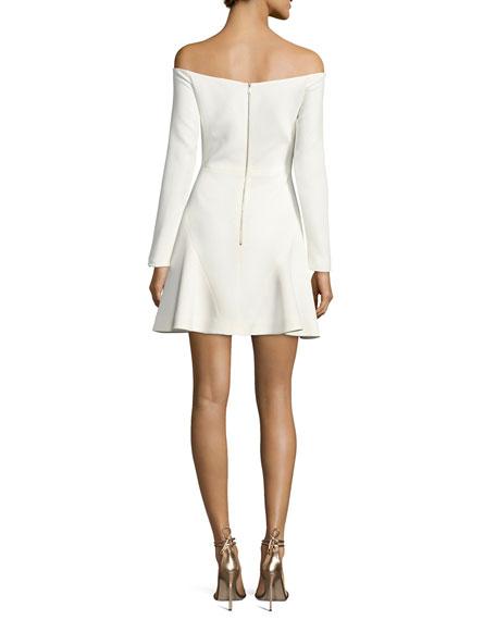 Stretch-Cady Off-Shoulder Dress, White