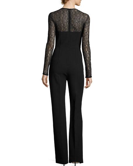 Wool-Crepe Long-Sleeve Jumpsuit, Black