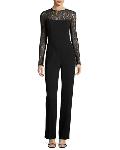 Michael Kors Collection Wool-Crepe Long-Sleeve Jumpsuit, Black