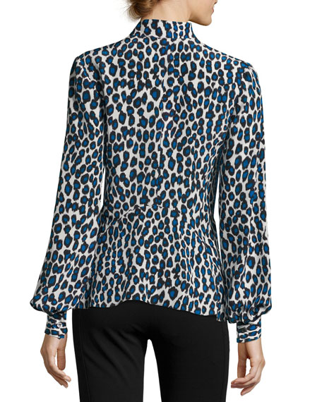 Leopard-Print Silk Blouse, Blue Pattern