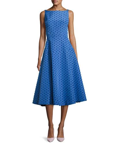 Dot-Embroidered Boat-Neck Dress, Blue