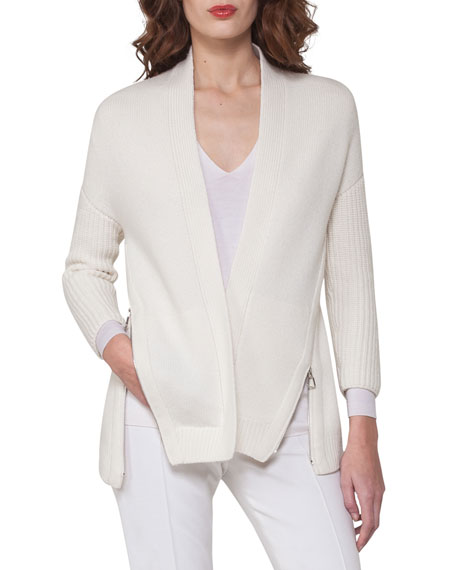 Side-Zip Ribbed Cashmere Cardigan, Off White