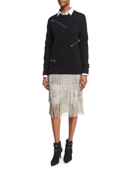 Layered Chain-Fringe Skirt, Black