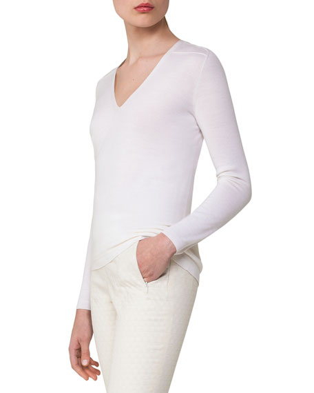 Cashmere-Silk V-Neck Pullover, Off White