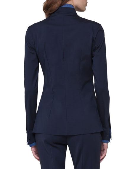 Bicolor Stretch Poplin Shirt, Dark Blue