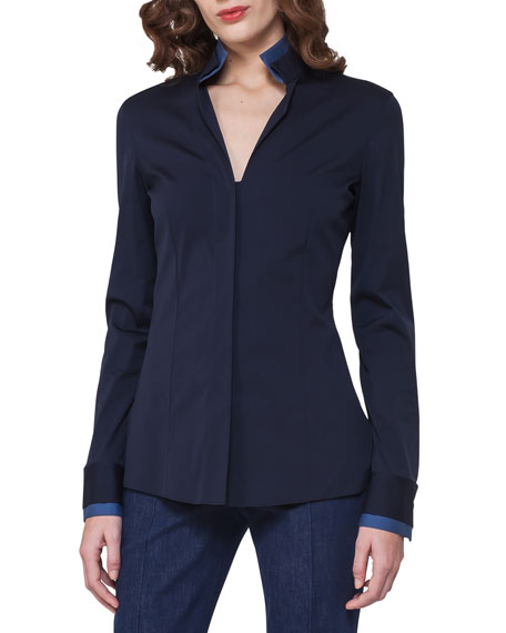 Bicolor Stretch Poplin Shirt, Dark Blue