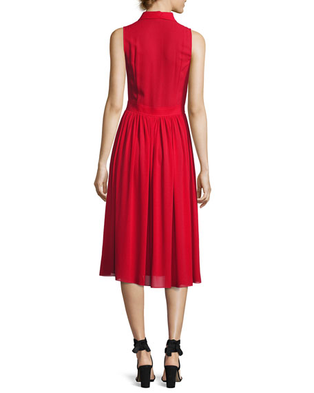 Sleeveless Silk Georgette Shirtdress, Crimson