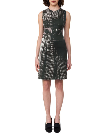 Akris Vivian Camera-Print A-Line Dress, Black