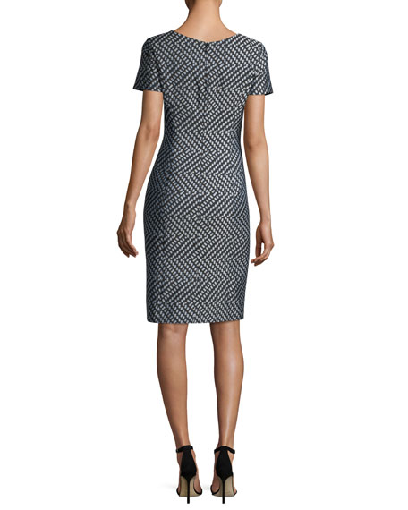 Short-Sleeve Mini Dot Cocktail Sheath Dress