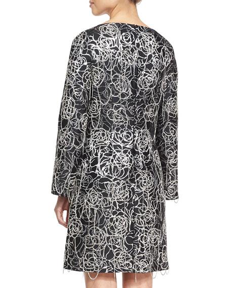 Chain-Detail Long-Sleeve Cocktail Dress, Black