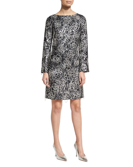 Chain-Detail Long-Sleeve Cocktail Dress, Black