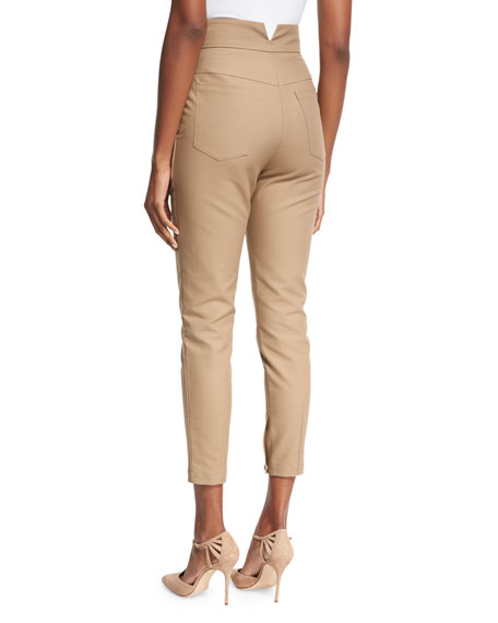 High-Waist Sailor-Button Cropped Skinny Pants, Camel