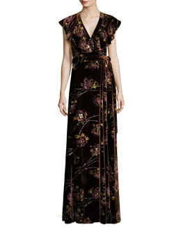 Floral Velvet Maxi Wrap Dress, Burnt Sienna
