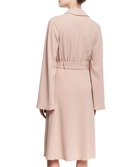 Bell-Sleeve Belted Crepe Shirtdress, BLACK OR BLUSH
