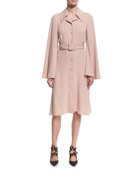 Bell-Sleeve Belted Crepe Shirtdress