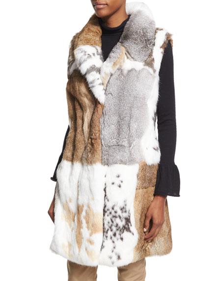 Long Patchwork Rabbit Fur Vest, White