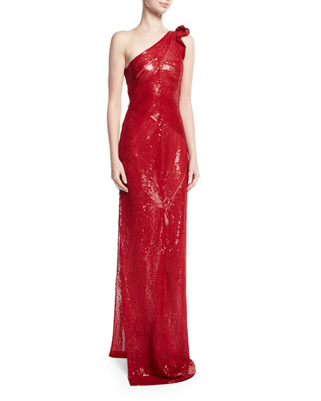 Beaded One-Shoulder Gown with Side Slit, Red