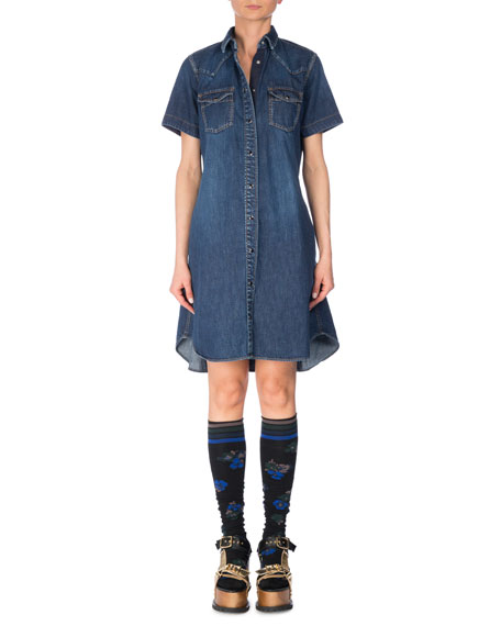 Short-Sleeve Denim Shirtdress, Blue