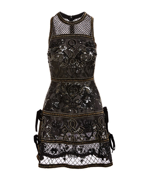 Embellished Cocktail Dress with Velvet Ties, Black/Gold