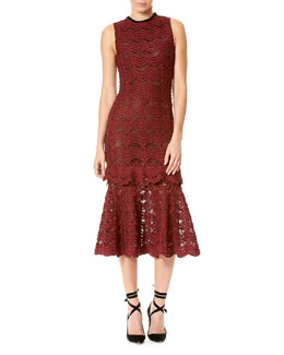 Silk Crochet Sleeveless Flounce Dress, Wine