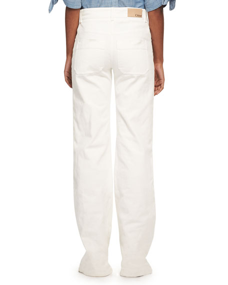 Lace-Up Wide-Leg Denim Jeans, White