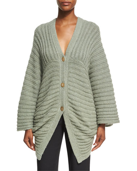 Chunky Ribbed Alpaca-Blend Cocoon Cardigan