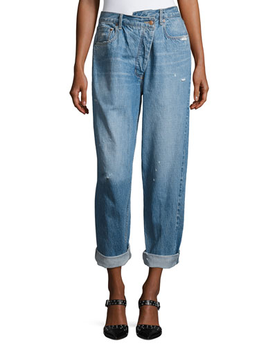 High-Waist Deconstructed Boyfriend Jeans, Blue