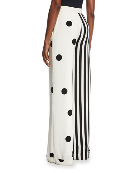 Striped Dot Combo Pants, White/Black