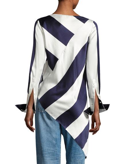 Long-Sleeve Asymmetric Striped Top, Blue Pattern