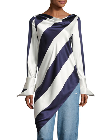 Long-Sleeve Asymmetric Striped Top, Blue Pattern