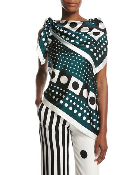Dot-Print Tie-Shoulder Silk Scarf Blouse, Green Pattern