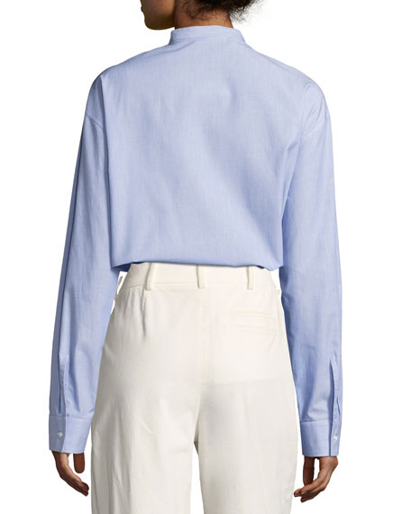 Band-Collar Poplin Blouse, Blue/White