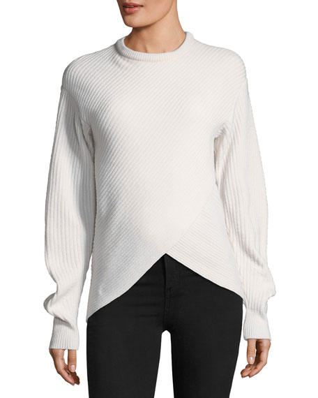 Crewneck Cross-Front Sweater