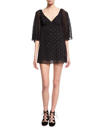 Crystal-Embellished Mini Dress, Black