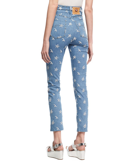 Lace-Embroidered Straight-Leg Jeans, Indigo
