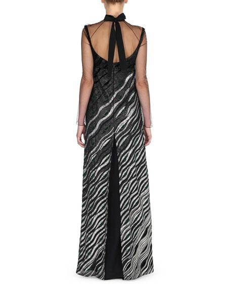 Metallic Illusion Mock-Neck Gown, Black/Silver