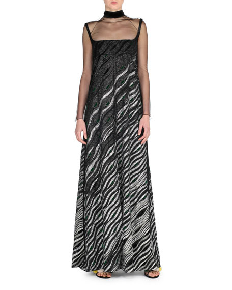 Metallic Illusion Mock-Neck Gown, Black/Silver