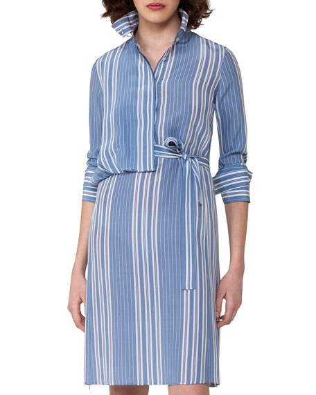 Striped Silk Crepe Shirtdress