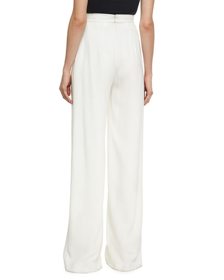 High-Waist Crepe Wide-Leg Trousers, Ivory