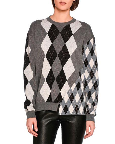 Stella Mccartney Mixed Argyle Knit Sweater Gray Pattern