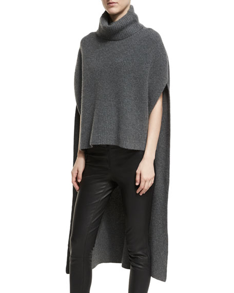 Ribbed Cashmere Turtleneck Poncho, Charcoal