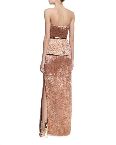 Strapless Plisse Peplum Column Gown Rose Gold